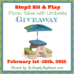 Blogger Opp: Step2 Sit and Play Picnic Table with Umbrella Giveaway